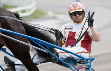 Aaron Merriman driving Delmonica Hanover in the 2015 PA Sire Stakes.