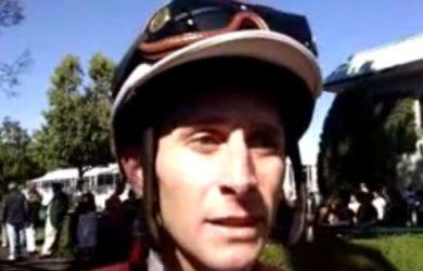 Jockey Joe Rocco, Jr. timed his move on Call Pat beautifully to win the 2016 Azeri Stakes.
