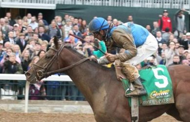 Brody's Cause winning the Grade I Claiborne Breeders' Futurity at Keeneland on Oct. 3, 2015.