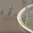 The field rounds the final turn in the 2016 San Diego Handicap.