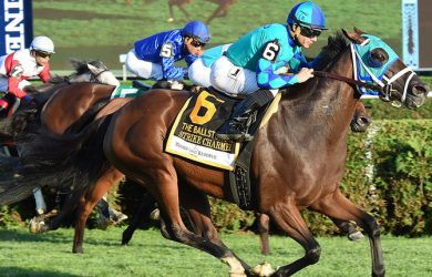 Strike Charmer (at odds of 27-1) rallies past Lady Eli in the Ballston Spa at Saratoga on Saturday (photo via www.NYRA.com)