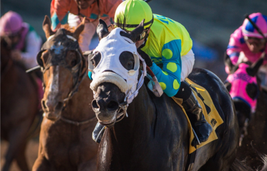 Lombo put himself firmly on the Kentucky Derby trail with an impressive win in the Robert B. Lewis Stakes at Santa Anita Park (photo by Zoe Metz/Santa Anita Park).